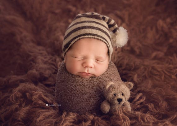 Mini felted bear baby newborn photography prop small brown