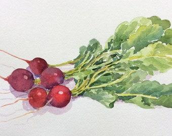 "Original watercolor painting ""Radish"" still life kitchen art"