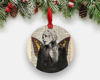 STEVIE Nicks Christmas Ornament, Witch Dictionary Art Print Round Aluminum Circle Boho Tree Ornament, Fleetwood Mac Gifts Stocking Stuffers