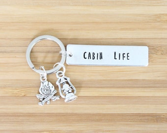 hand stamped keychain   cabin life