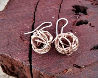 Aros Esféricos Cobre y Plata - Copper and Silver Spherical Earings
