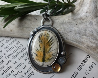 RESERVED FOR JESSICA: Ceramic Feather Pendant in Sterling