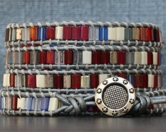 patriotic wrap bracelet- red white and blue on silver leather - election jewelry - military jewelry - Memorial day - Fourth of July