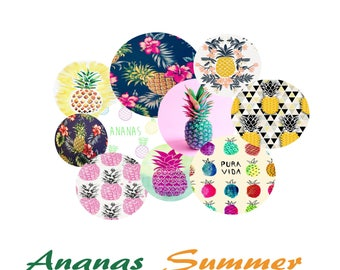 Digital images for cabochon or image transfer 170601 pineapple summer
