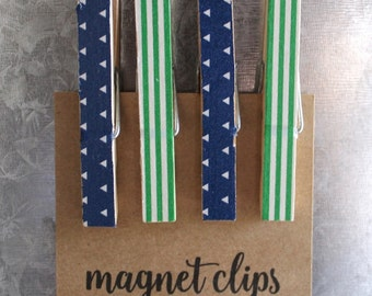 Magnet Clips | Green Stripe & Blue Triangle Pattern | Clothespin Magnets | Decorative Fridge Magnets