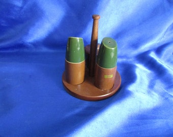 Vintage Wood & Green Pottery Cruit Set on a Wooden Stand