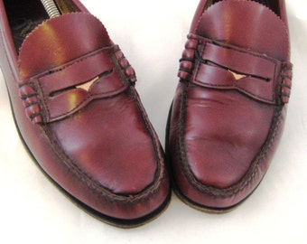 1980s Penny Loafers Mens Penny Loafers Burgundy Loafers Mens Loafers Leather Slip On Dacks Shoe 80s Maroon Loafers 10D Mens Ox Blood Loafers