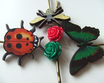 Garden, Butterfly, Ladybird, Bee, rose, green and red and yellow, hair grips, 5 bobby pins,bugs, by NewellsJewels