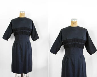 1950s Dress - 50s Dress - Navy Blue Sleeveless Dress And Cropped Jacket Set