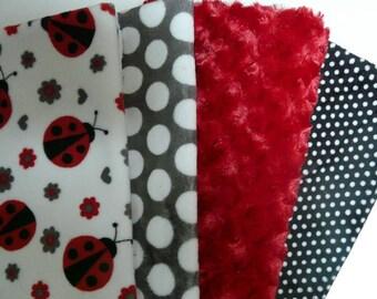 set of 4 Ladybug 50cmx56cm velvet minky fabrics