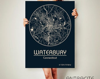 WATERBURY Connecticut CANVAS Map Waterbury Connecticut Poster City Map Waterbury Connecticut Art Print Waterbury Connecticut