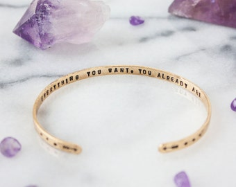 Inspirational gold quote bracelet. Inspirational gift for her. Hand stamped arrow bracelet. Secret message cuff bracelet RTS CB016