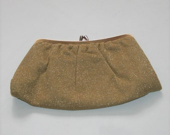 1960s Gold Lame Clutch Purse / Evening Bag