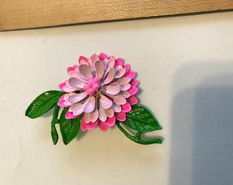 Pink chrysanthemum brooch