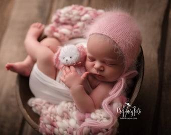 RTS Pale Pink-Ivory Handspun Blanket Newborn Photography Prop