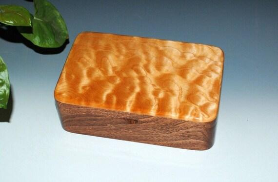 Handmade Wood Box, Gift Box, Treasure Box, Keepsake Box - Mahogany with Quilted Maple - Jewelry Box - Wooden Box, Wood Gift, Handmade Box