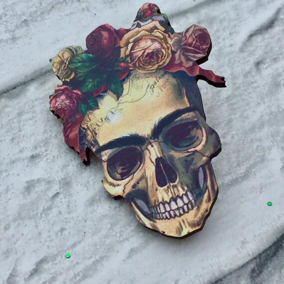 Frida Kahlo Skull Brooch