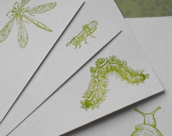 Embossed insect flat notecard set