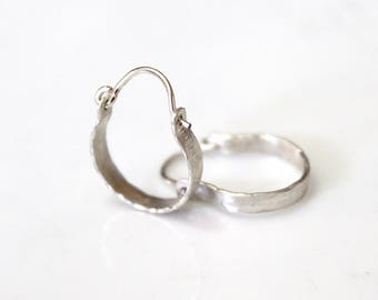 Tiny Hoop Earrings, Solid 925 Sterling Rustic Jewelry, Hoops Earrings, Hammered Silver Hoop Earrings, Hammered Earrings, Small Hoop Earrings
