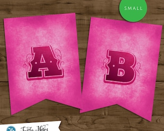 Small Pink Western Themed Banner :  Printable Banner All Letters 0-9 numbers, Bonus Extras