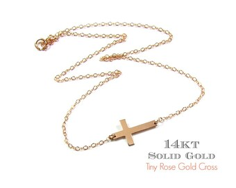 14KT SOLID GOLD Tiny Sideways Cross Necklace in 14Kt Rose Gold- Seen on JLo, Guiliana Rancic and Miley Cyrus