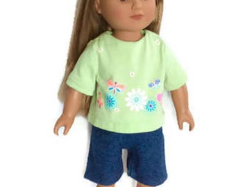 18 Inch Doll Clothes, Jeans Shorts with Mint Green T-Shirt, Summer Doll Clothes