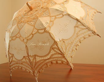 Ecru and Gold Battenburg Lace Parasol