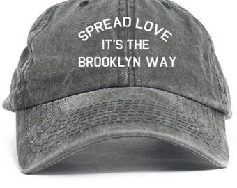 Spread Love It's A Brooklyn Way Dad Hat Adjustable Baseball Cap New - Black Denim