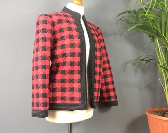 Vintage 80s Pure Silk Black Red Checked Quilted Puff Sleeve Smoking Jacket 14 16
