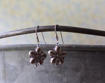 Thai Silver Daisy & Iolite Drop Earrings