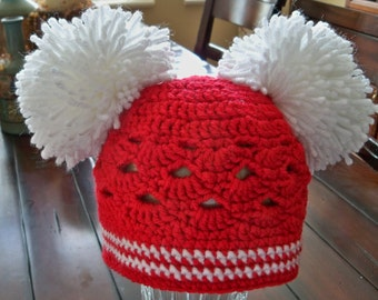 Crocheted Childrens Red and Candy Cane Stripe Christmas Beanie