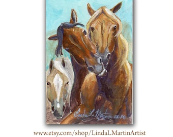 Horses Playing Artwork  Acrylic LLMartin Original Watercolor Painting- Virginia Country