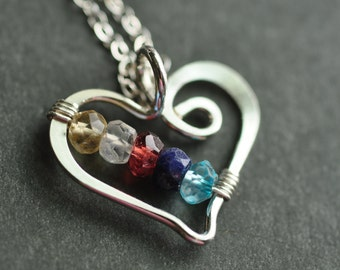 mothers necklace - grandmother necklace - birthstone necklace - Open Heart (5 stones) / friendship necklace / sisters necklace - customized
