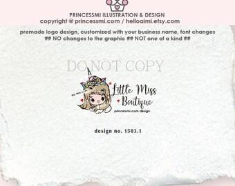 1503-1 unicorn headband, logo design, boutique logo, business logo, headband shop logo, girl logo, headband, cute logo design, logo branding