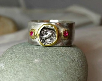 Ancient Coin  Statement Ring , Athena Owl Coin ring, Silver, 22 kt gold and Ruby ring, Ancient coin Jewelry