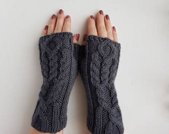 Knitted cable fingerless gloves, charcoal braided mittens, handknit handwarmers, grey wristwarmers, gray mitts, winter gloves, wool gloves