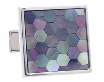 Dark Hexagon Mosaic Shell Cufflinks