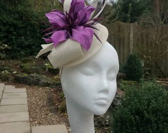 Ivory Hatinator, Lilac Fascinator, Wedding Hat, Royal Ascot Headpiece, Wedding Fascinator, Occasion Hat, Millinery, Mother of the Bride Hat