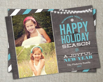 Shabby Chic Christmas Photo Card with Graywash Wood | Trendy Holiday Photo Card with Teal and White Accents | Multiple Photos