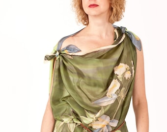 Green silk scarf, square scarf, botanical art, roses hand painted scarf, woman scarves, silk accessories, for her - ready to ship