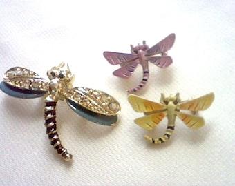 Lot of 3 vintage enamel and rhinestone dragonfly pins
