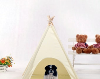 Natural canvas dog  teepee with padded mat