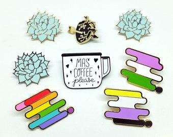 Enamel Pins Seconds Sale | Slightly Flawed Pins | Enamel Pin | LBGTQ+ | Pride Pin | Coffee Pin | Lapel Pin | Plant Pin | Love Pin | Tech Pin
