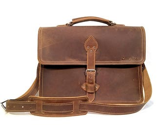 "16"" Brown Pullup Leather Briefcase"