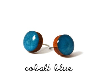 Cobalt Blue Stud Earring · Blue Stud Earring · Teal Stud Earring · Paint + Resin Stud · 3 sizes 8mm, 10mm & 13mm