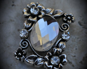 Silver Crystal 2 Hole Large Sliders - 7323