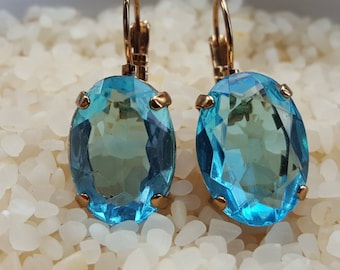 Turquoise crystal gold earring,Georgian paste earring, turquoise drop earring,light gold dangle earring,oval blue earring,something blue