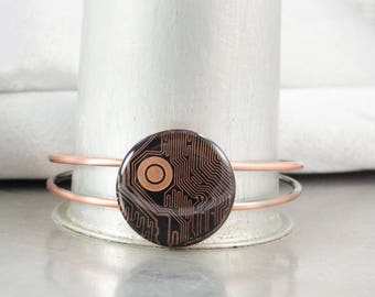 Circuit Board Bracelet Copper, Circuit Board Jewelry, Computer Engineer Gift, Geeky Bracelet, Computer Geek Gift, Graduation Gift for Her