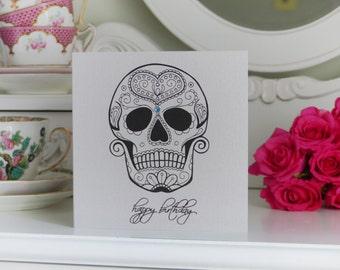 Tattoo Style Sugar Skull Birthday Card