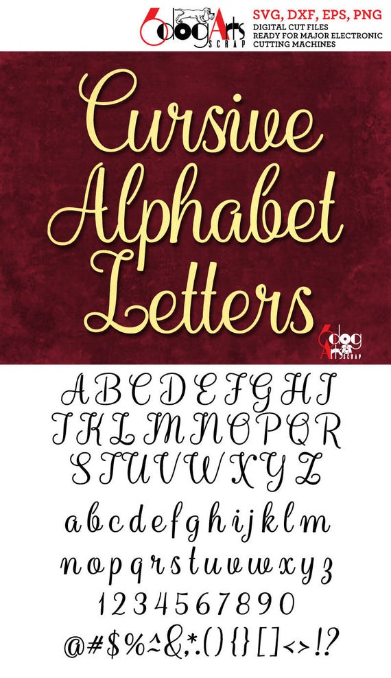 cursive alphabet letters svg dxf vector cut files monogram